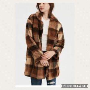 American Eagle Fall Plaid Teddy Pea Coat NWT XXL
